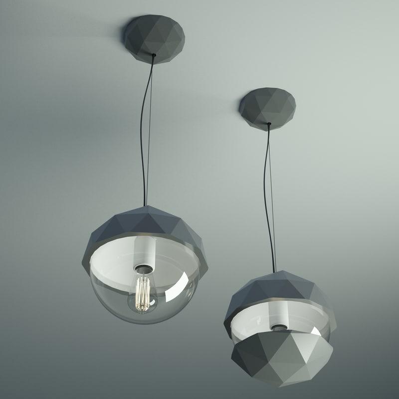 Fractal Pendant Lights: Fractal Dome Glass Light 3d Obj