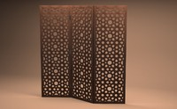 arabesque fold lattice screen 3d max