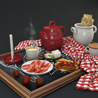 3d breakfast set
