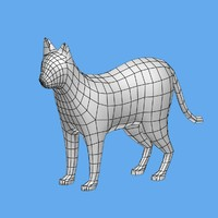 3d cat modelled polys model