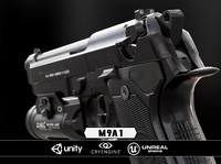 M9A1 + Flashlight - Black & Chrome - Model & Textures