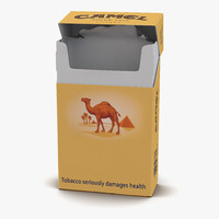 3d model opened cigarettes pack camel