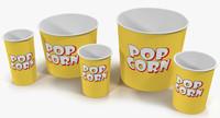 cups popcorn 2 3d model