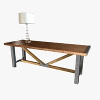 COMMUNAL TABLE by Carbon Industrial Design  and alan knight Sukhothai Glass Lamp  Small Platinum Gilt Base