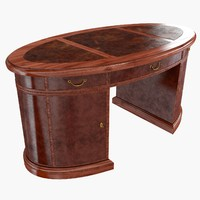 3d partners desk mahogany leather model
