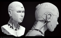 3d female cyborg head