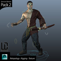 3d model of samurai character pack -