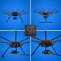 dji s1000 octocopter 3d obj