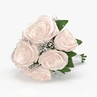 3d model of bridal bouquet laying