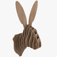 3d model cardboard rabbit head