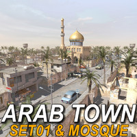 arab town-set01 mosque town 3d model