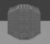 3d untextured building set