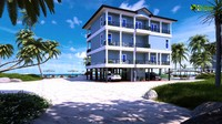 Beach House Exterior Design Rendering Animation