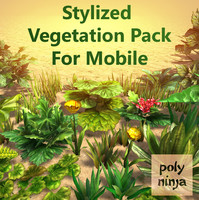 stylized vegetation mobile 3d model