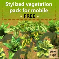 free pack stylized vegetation mobile 3d model