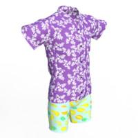 3d realistic hawaiian clothing model