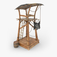 3d model wooden tower pirate