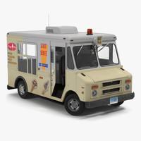 ice cream van rigged 3d model