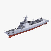 type052c luyangii destroyer 3d model