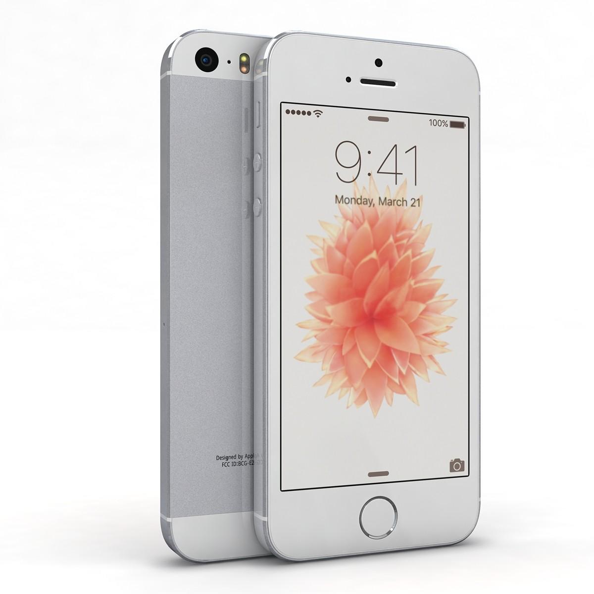 3d model apple iphone se silver. Black Bedroom Furniture Sets. Home Design Ideas