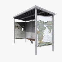 shabby bus shelter 3d max