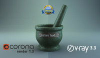 3d stone mortar pestle corona