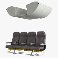 3d model economy a380 baggage compartment