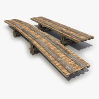 2 old wooden bridge 3d model