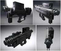 heavy blaster gun 3d obj