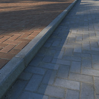 Paving slabs and curb