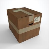 3d opened cardboard box