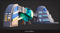 futuristic sci-fi building 3d max