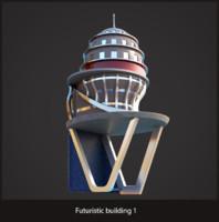 3d futuristic sci-fi building model
