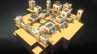 modular desert town 3d model