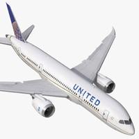 3d boeing 787 8 united model