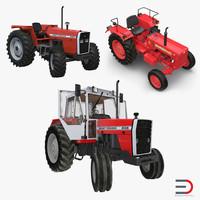 rigged vintage tractors 3d max