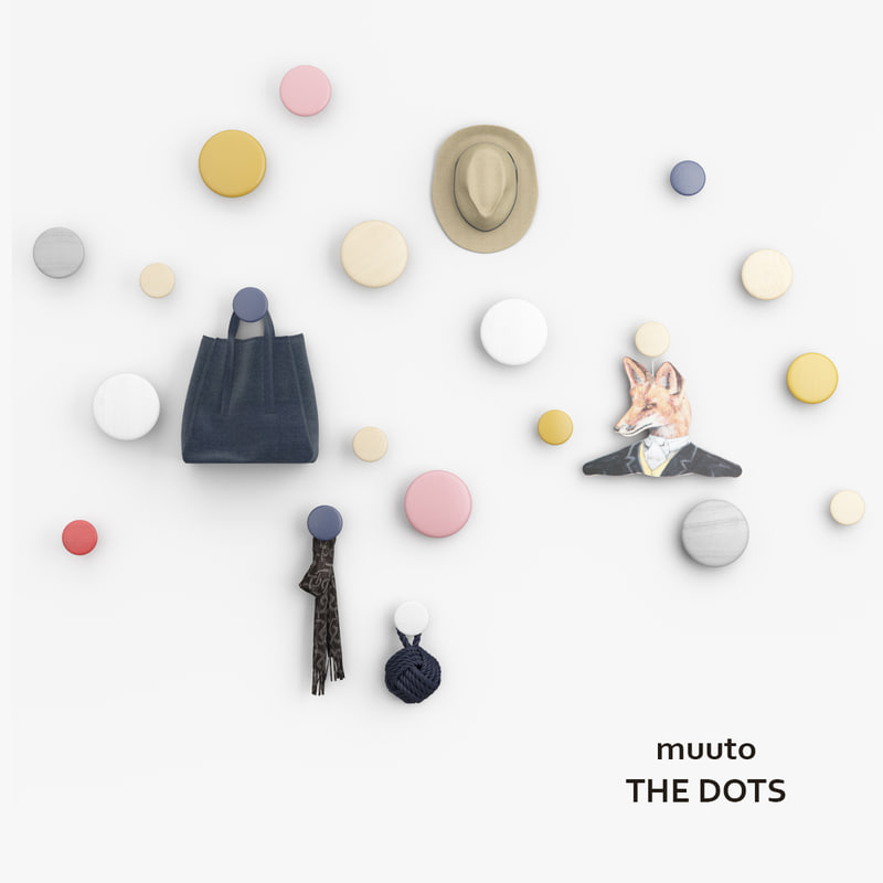 muuto dots coat hooks 3d model. Black Bedroom Furniture Sets. Home Design Ideas