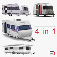 rigged caravans 3d model