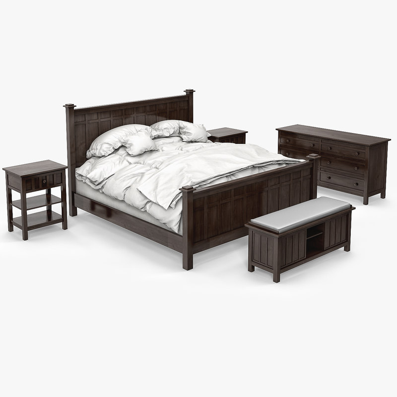 Brighton bed 3d max - Crate barrel bedroom furniture ...