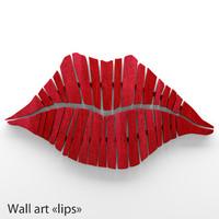 3d model wall art lips