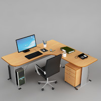 office desk 03 3d model