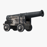 1800 century ship cannon 3d model