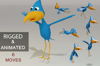 rigged cartoon bird games 3d max