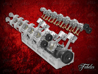 3d model v12 engine opened