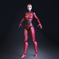 3d sci-fi female robot model