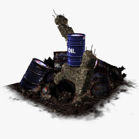 3d fbx oil barrel blue -