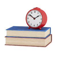 3d model red clock old books