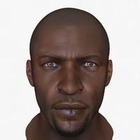 3d african male head model