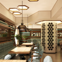cafe interior 3d model