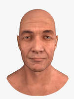 obj male head human skin